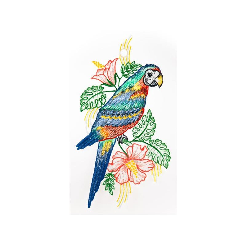 Fensterbild papagei farbig 20 x 34 cm original plauener - Plauener spitze fensterbild ...
