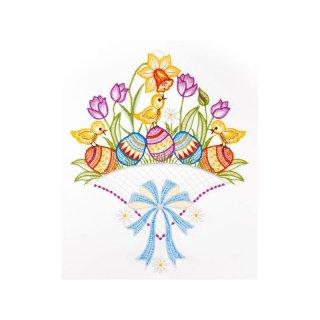 """Plauener Spitze 21 x 30 cm Fensterbild /""""Schmetterling mit Blumen/"""" farbig"""
